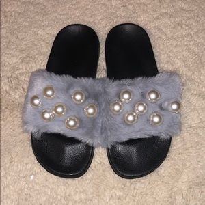 New Slide-On Furry Sandals